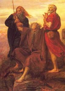 Joshua fights the Amalekites while Moses prays